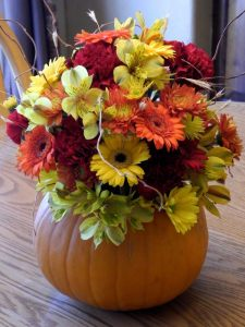 Flowers-in-a-pumpkin